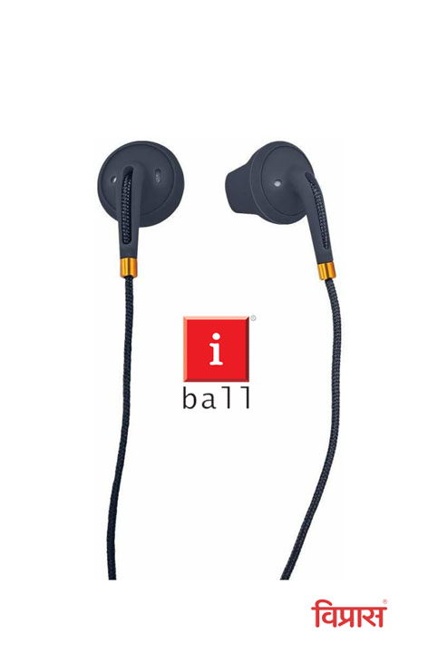 Headset with Mic iBall ColorFlow52 Wired (Black Gold, In the Ear)