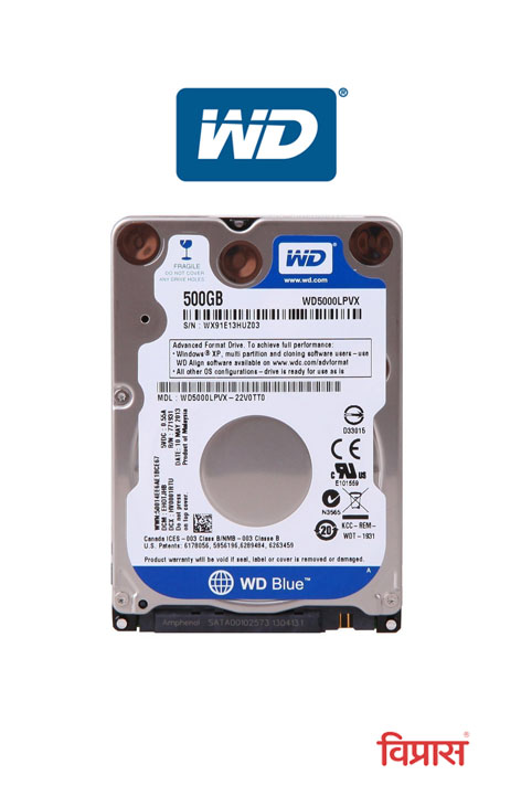 Hard Drive WD 500GB  Blue Laptop Internal
