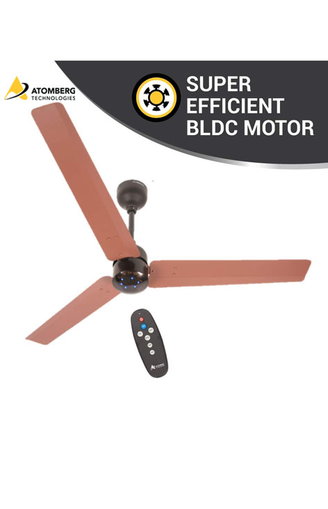 Atomberg Renesa 1200mm BLDC Ceiling Fan with Remote - Brown & Black