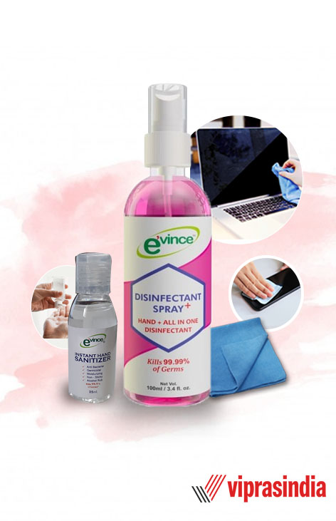 Evince Cleaning Kit Disinfectant Spray + Instant Hand Sanitizer  + Cleaning Cloths for LCD/LED TV, Laptop Computer Screen, iPhone, iPad and more