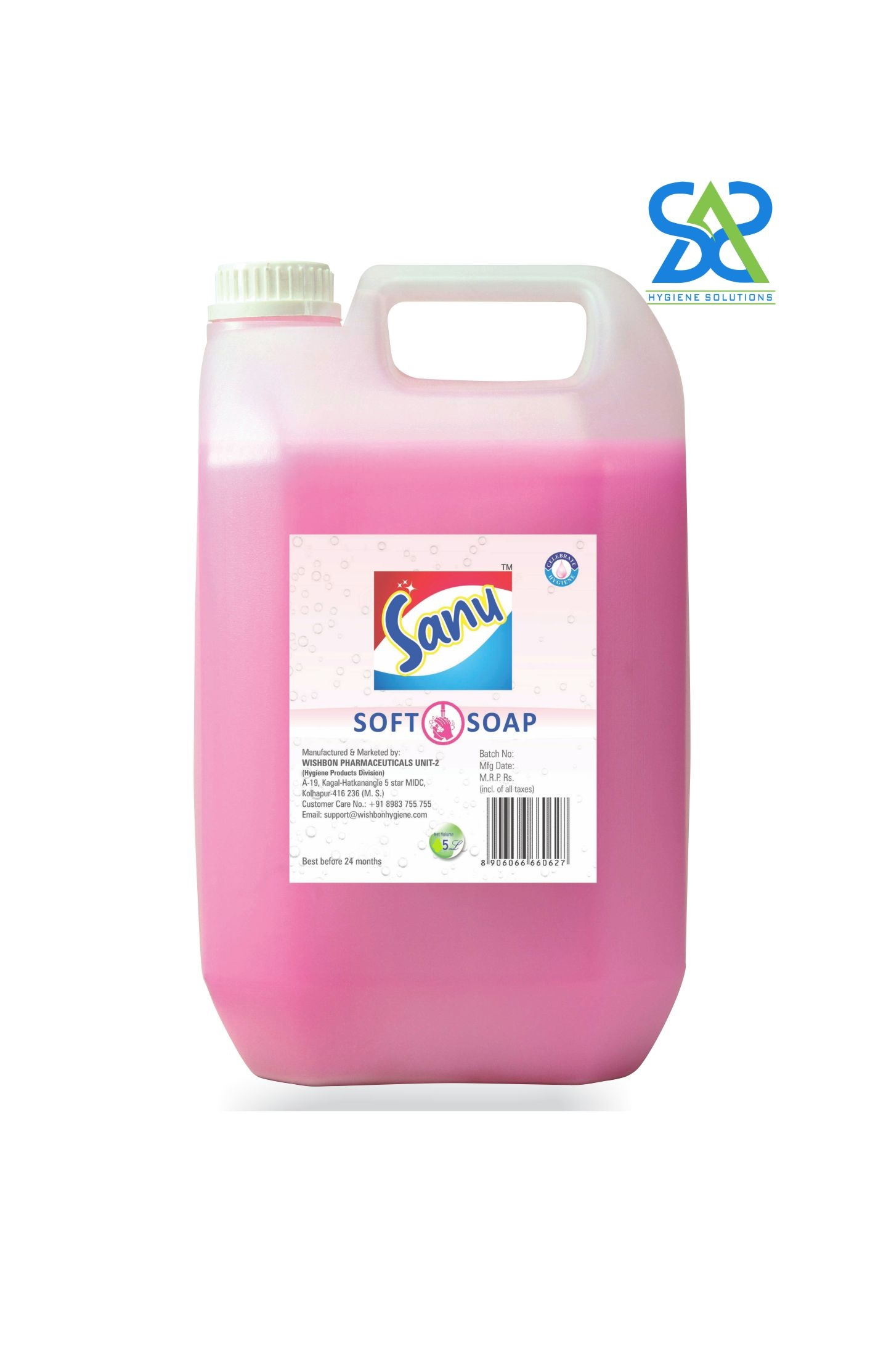 Sanu Soft Soap Handwash, 5 Litres - Rose