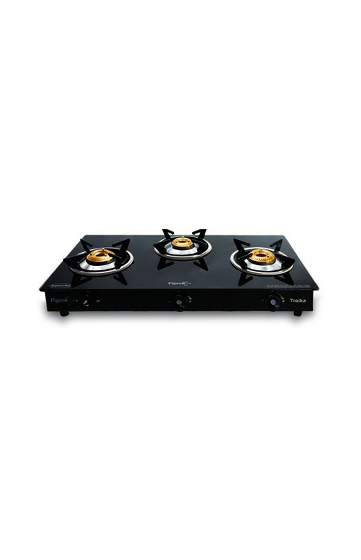 Pigeon by Stovekraft Hobtop Glass 3 Burner Gas Stove, Black