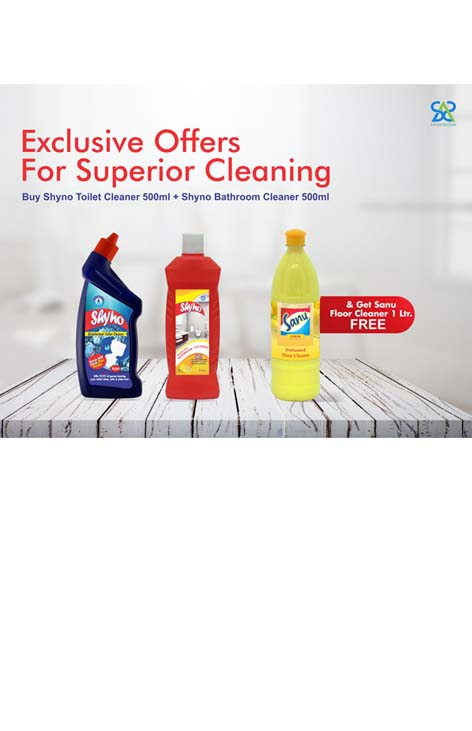 Diwali Offer Shyno Toilet Cleaner 500ml + Shyno Bathroom Cleaner 500ml+ Free Sanu Floor Cleaner 1 ltr