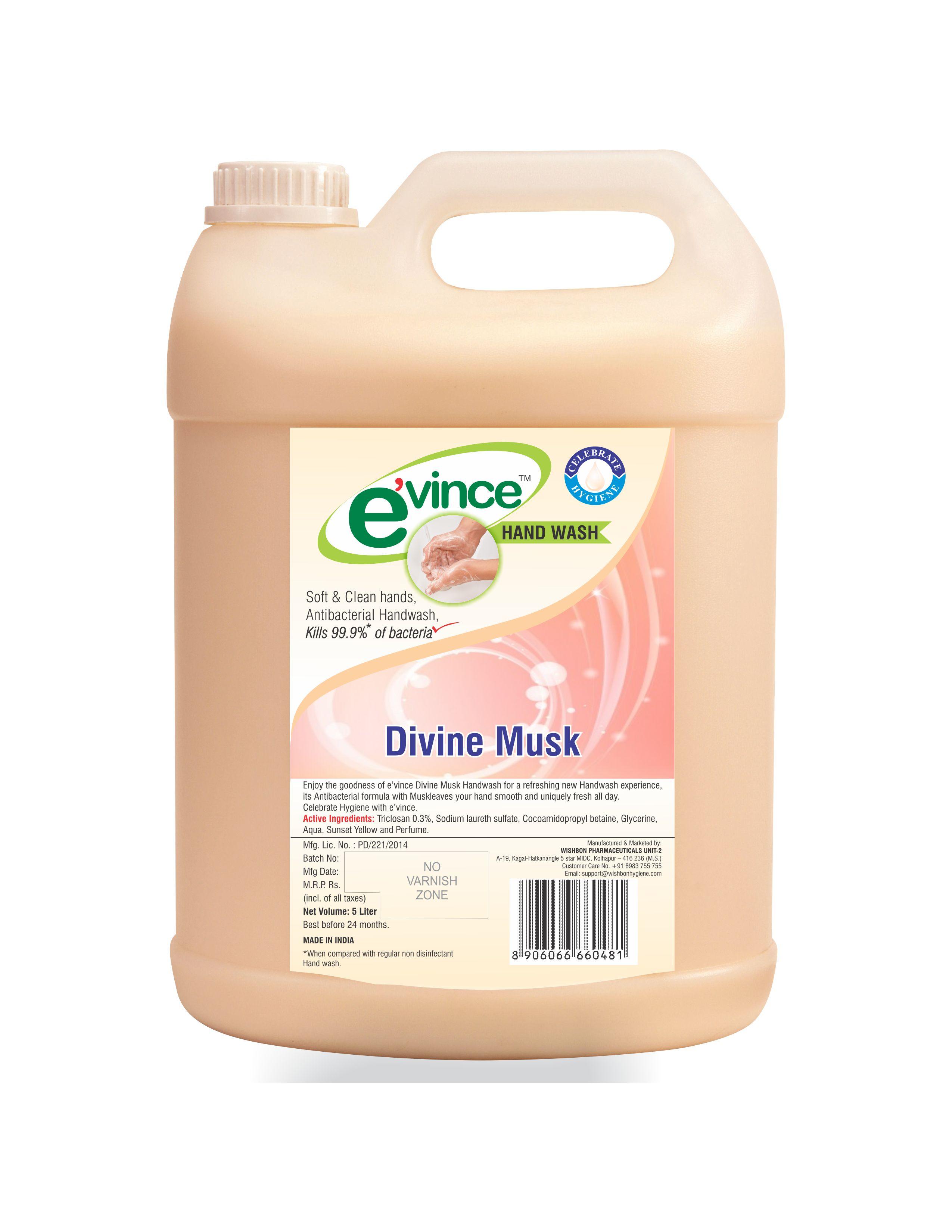 Evince Antibacterial Handwash, 5 Litres  - Divine Musk