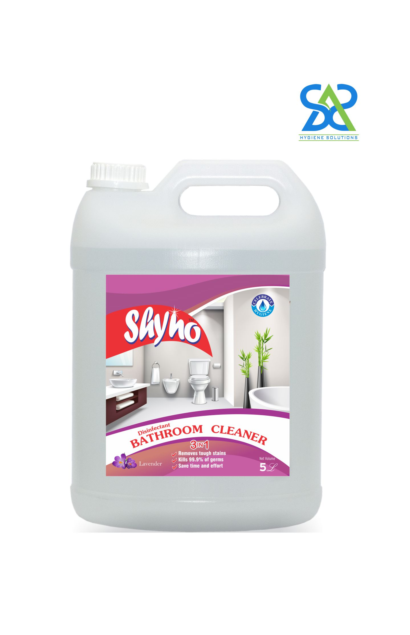 Shyno Disinfectant Bathroom Cleaner, 5 Litres -  Lavender