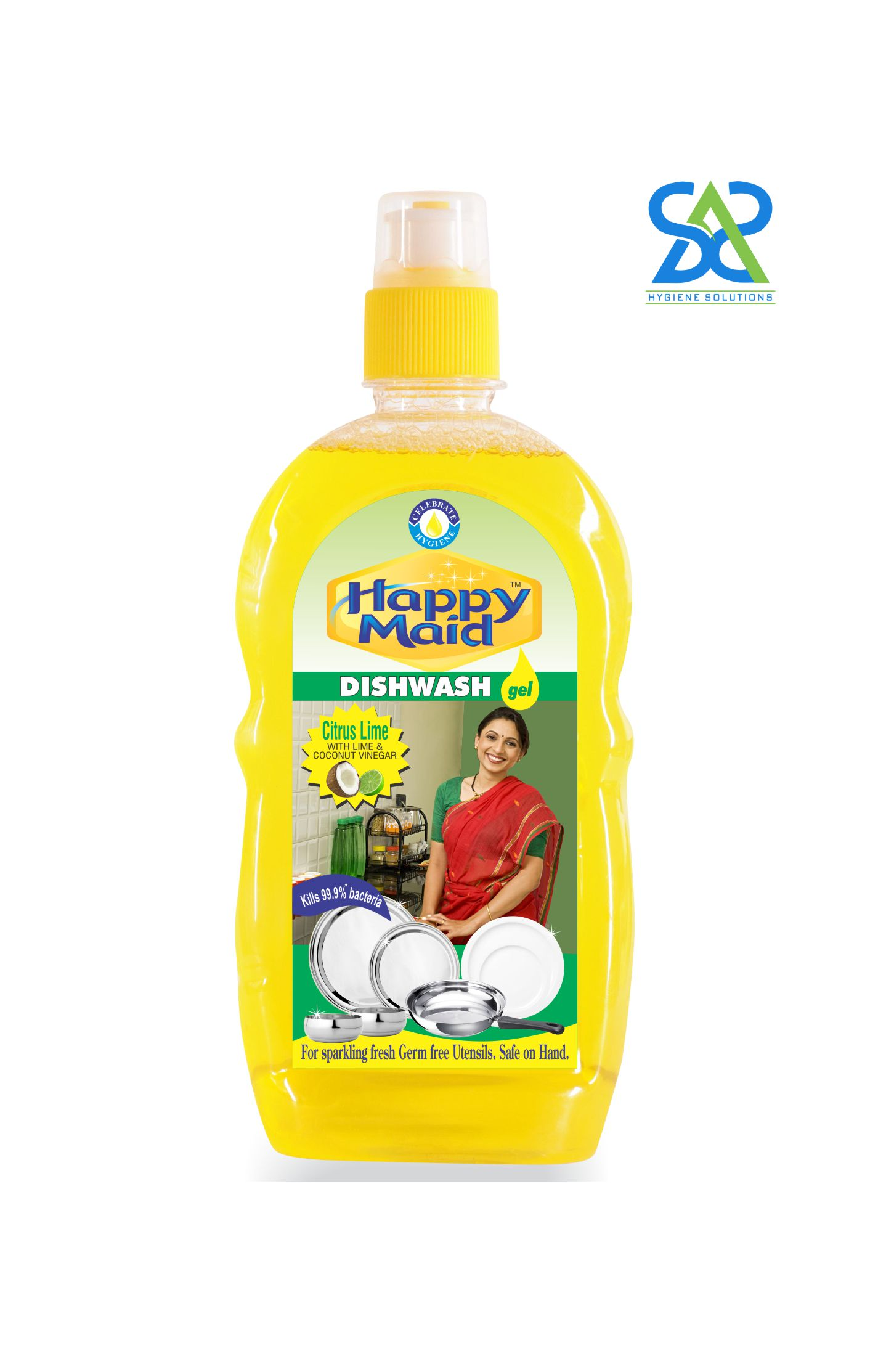 Happy Maid Lime Liquid Dishwash, 200 ml