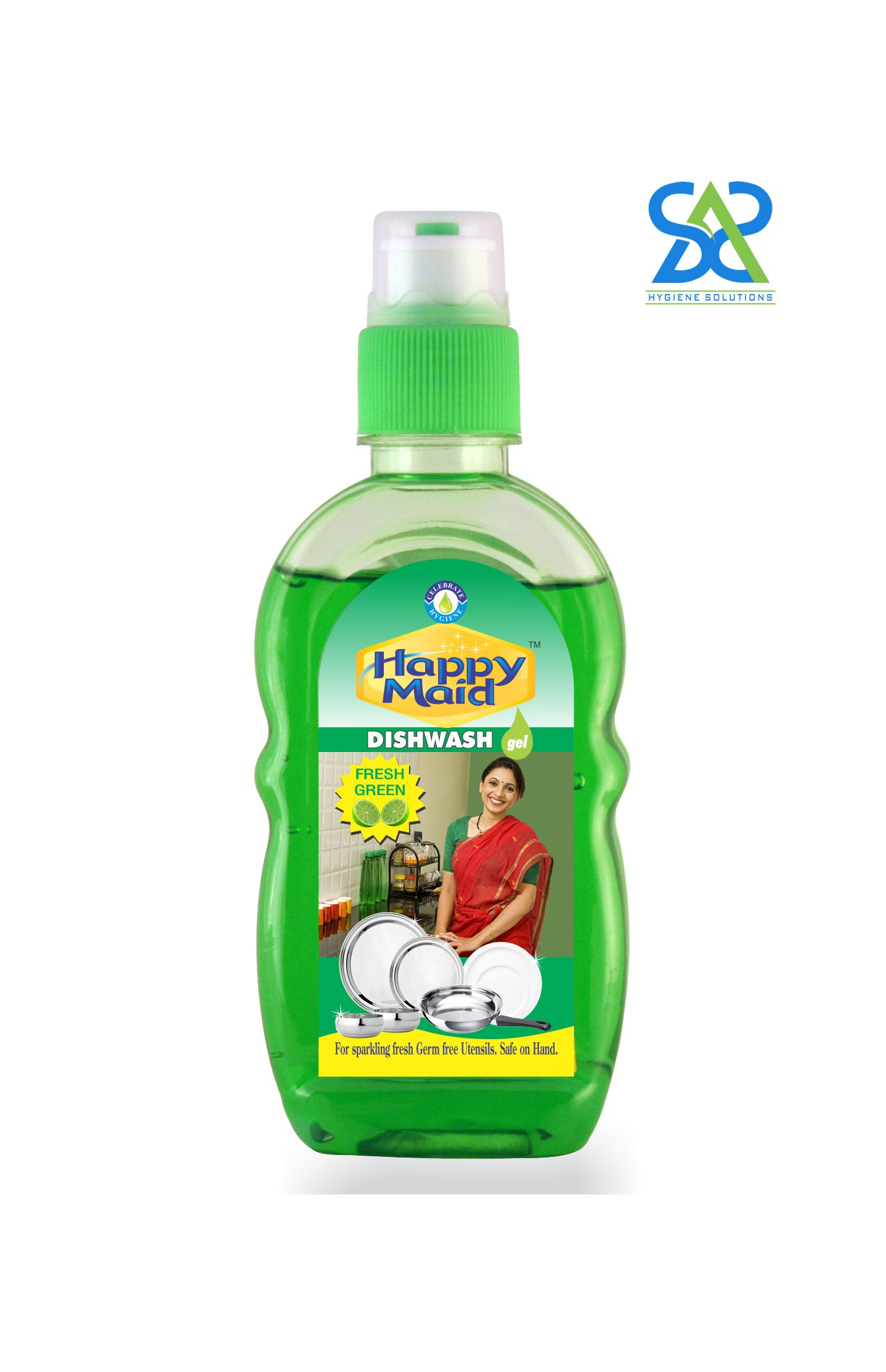 Happy Maid Fresh Green Liquid Dishwash, 200ml