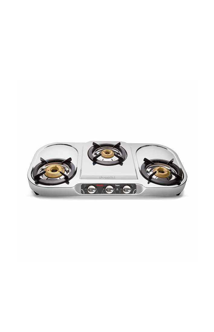 PREETHI TOPAZ 3 BURNER GAS STOVE in Stainless Steel Gas Stoves