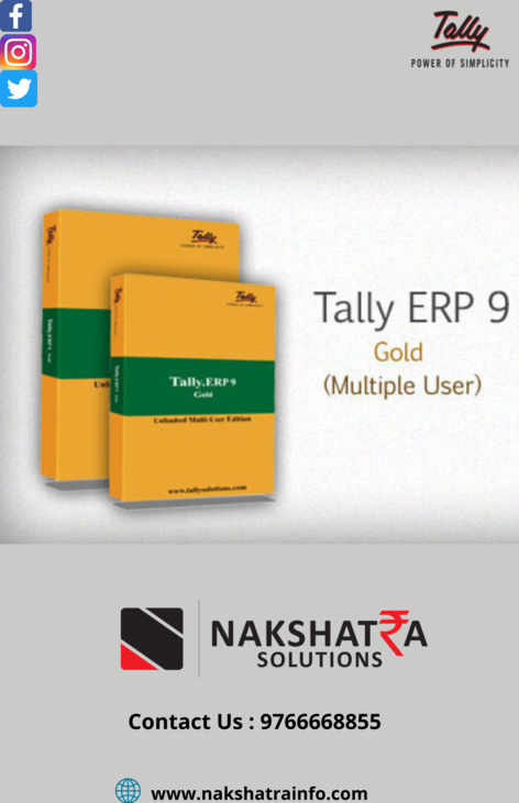 Tally.ERP9 Gold .Free TDL's Rs.9000