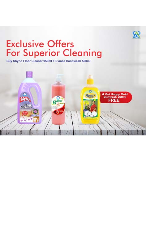 Diwali Offer Shyno Floor Cleaner 950 ml + Evince Hand Wash 500 ml+Free Happy Maid Dish Wash 200 ml