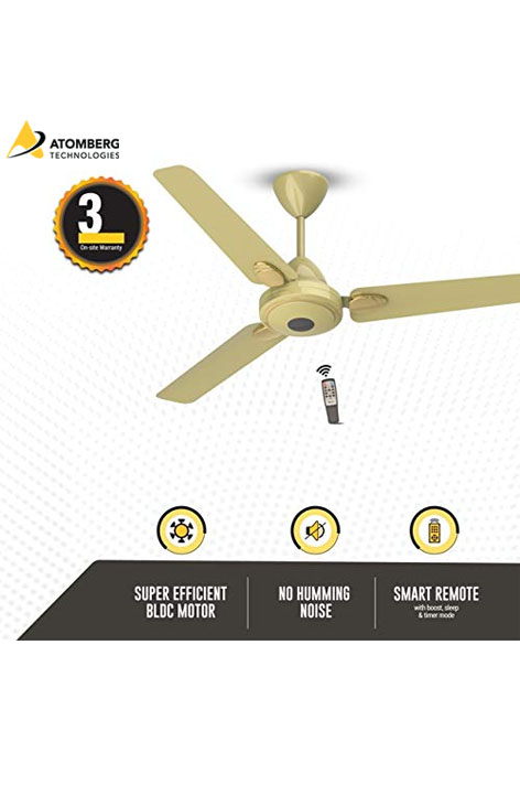 Atomberg Efficio+ 1200 mm BLDC  Ceiling Fan with Remote - Metallic Gold