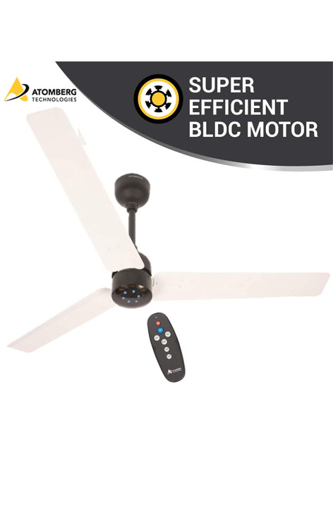 Atomberg Renesa 1200mm BLDC Ceiling Fan with Remote - White & Black