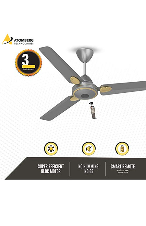 Atomberg Efficio+ 1200 mm BLDC Ceiling Fan with Remote - Sand Grey