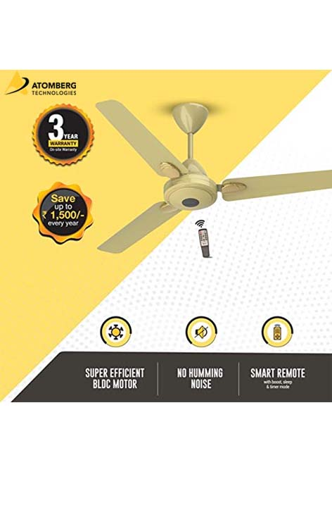 Atomberg Efficio+ 1400 mm BLDC Ceiling Fan with Remote - Metallic Gold