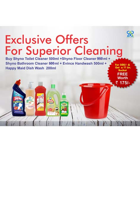 Diwali Offer Shyno Toilet Cleaner 500 ml + Shyno Floor Cleaner 950 ml + Happy Maid Dish Wash 200 ml  + Shyno Bathroom Cleaner 500 ml + Evince Hand Wash 500 ml + Free Bucket