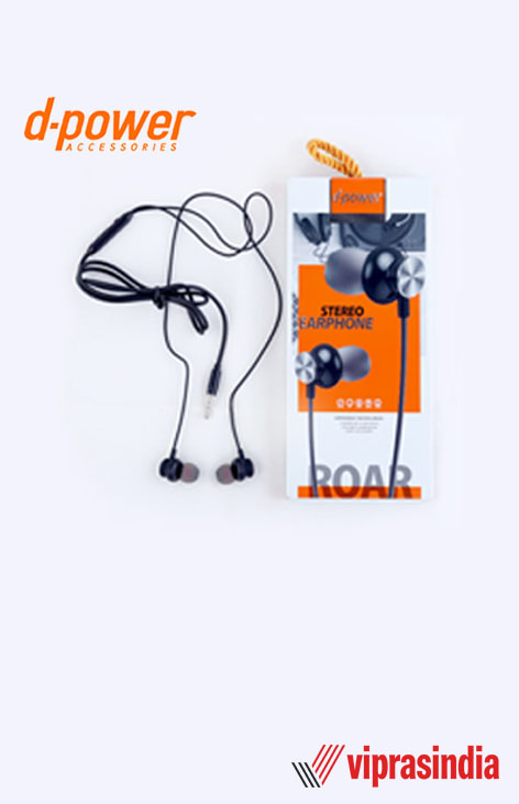 Earphones with Mic d-power ROAR DP-302  (Black)
