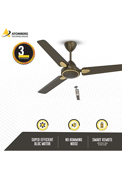 Atomberg Efficio+ 1400 mm BLDC Ceiling Fan with Remote - Earth Brown