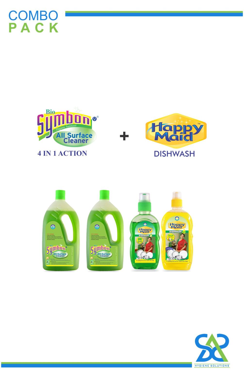 COMBO PACK  of Bio-Symbon Disinfectant All Surface Cleaner + Happy Maid Dish Wash
